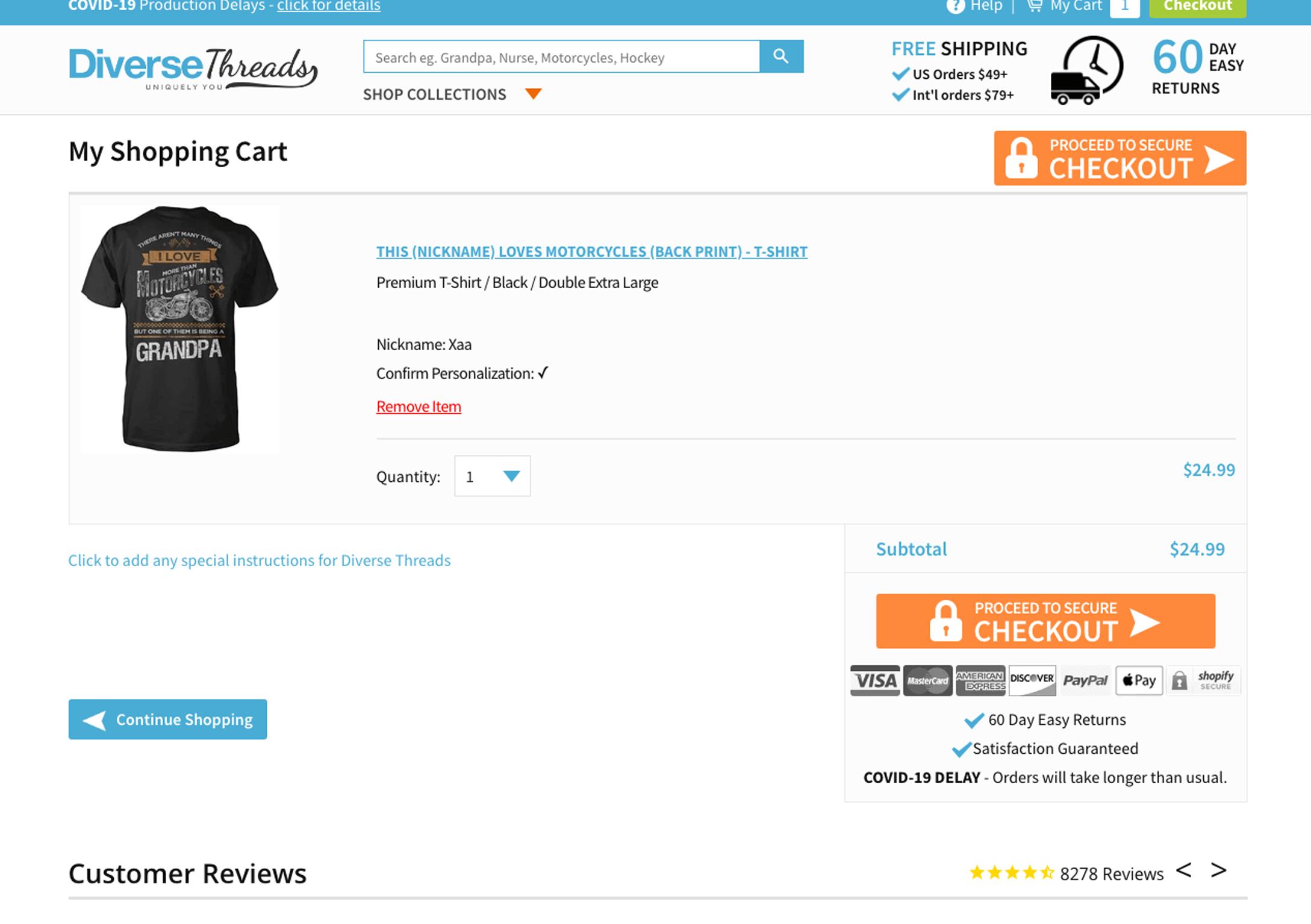 cart page design shopify theme
