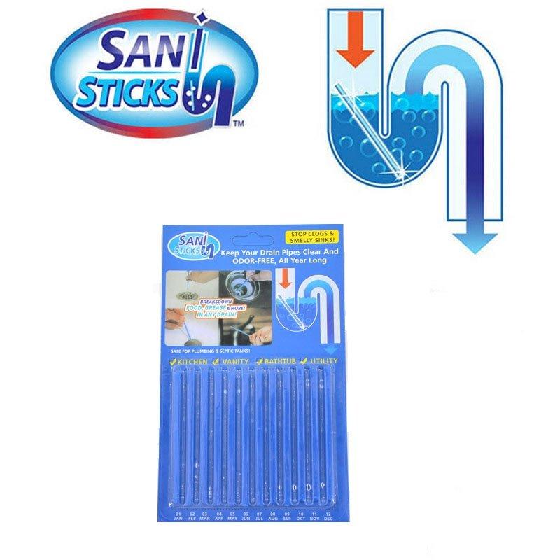 12 set Sani Sticks Oil Decontamination The Kitchen Toilet Bathtub Drain Cleaner Sewer Cleaning Rod Convenient 1