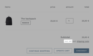 Customize cart and checkout